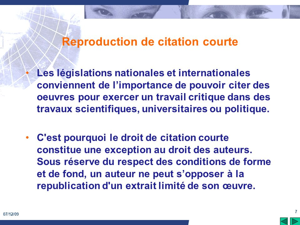 Reproduction de citation courte