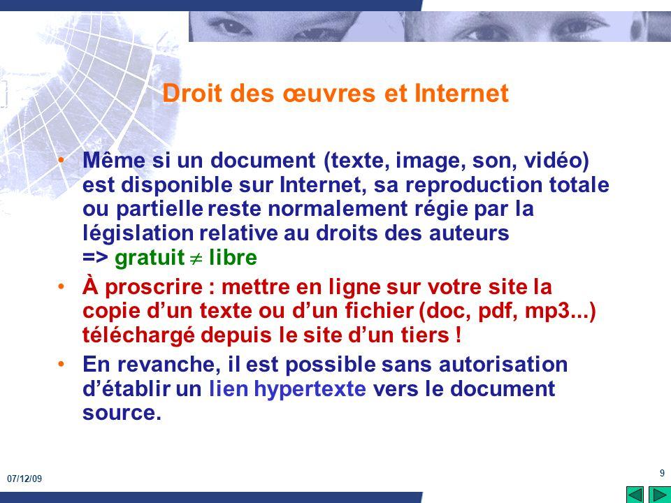 Droit des œuvres et Internet