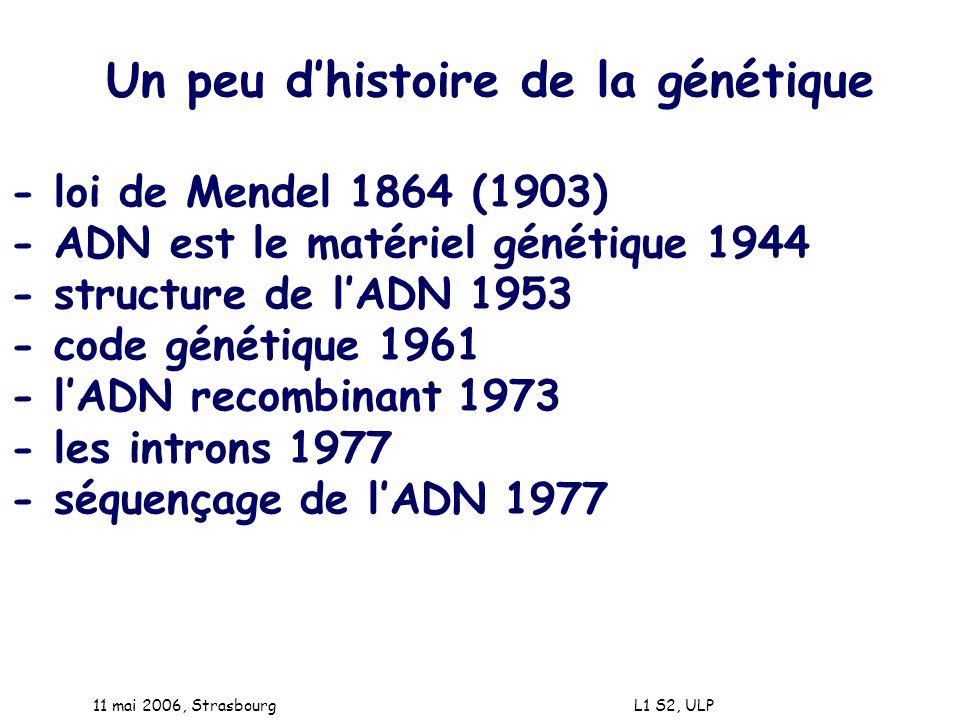 Un peu d'histoire de la génétique - loi de Mendel 1864 (1903)