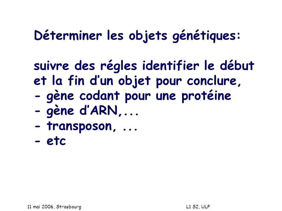 Déterminer les objets génétiques: