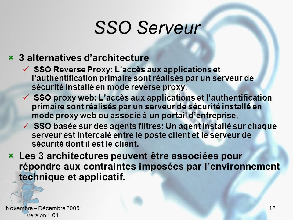 SSO Serveur 3 alternatives d'architecture