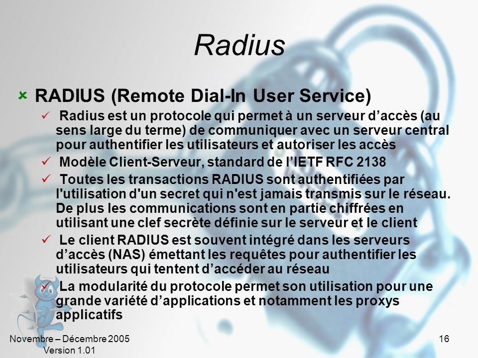 Radius RADIUS (Remote Dial-In User Service)