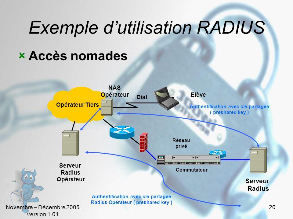Exemple d'utilisation RADIUS