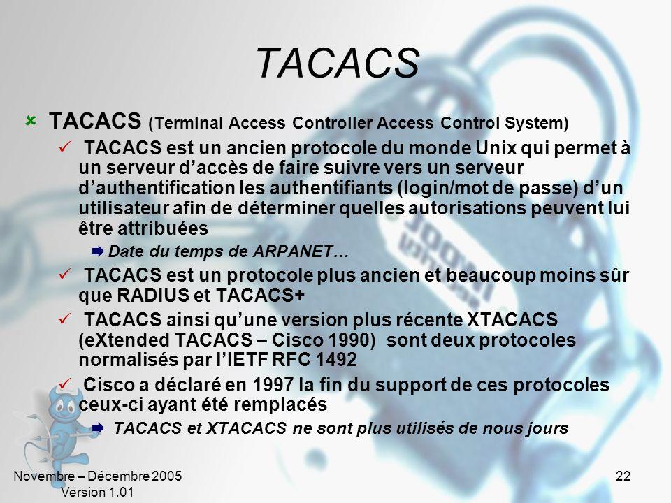 TACACS TACACS (Terminal Access Controller Access Control System)