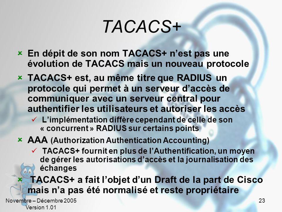 TACACS+ En dépit de son nom TACACS+ n'est pas une évolution de TACACS mais un nouveau protocole.