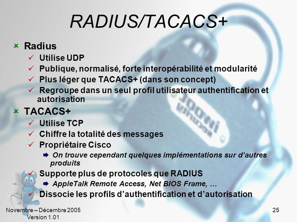 RADIUS/TACACS+ Radius TACACS+ Utilise UDP