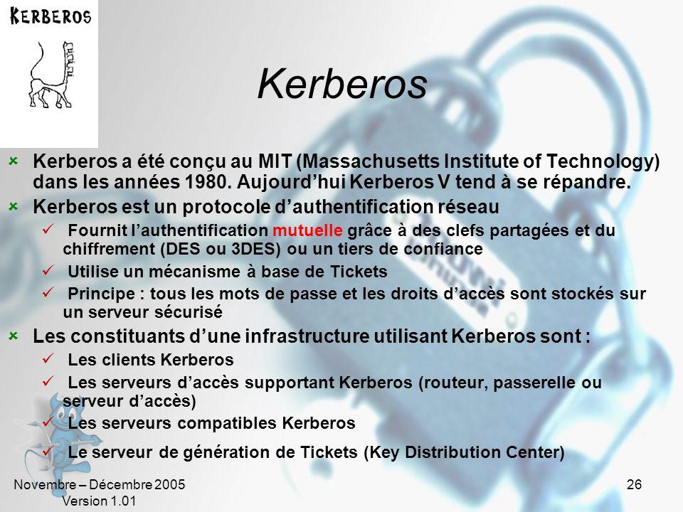KerberosKerberos a été conçu au MIT (Massachusetts Institute of Technology) dans les années 1980. Aujourd'hui Kerberos V tend à se répandre.