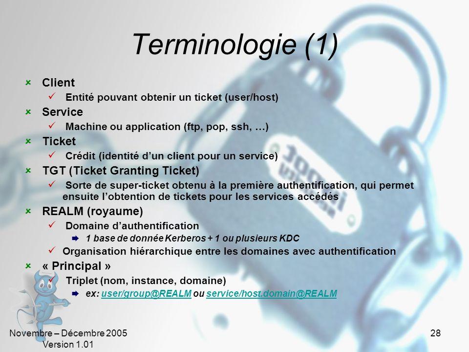 Terminologie (1) Client Service Ticket TGT (Ticket Granting Ticket)
