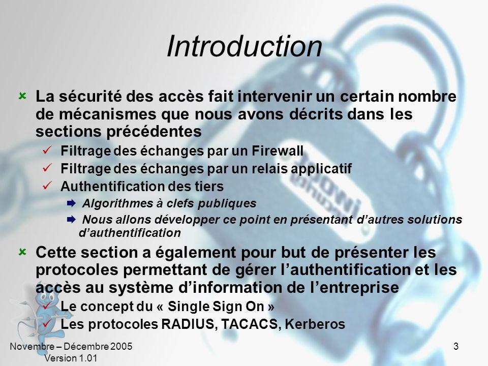 Introduction La sécurité des accès fait intervenir un certain nombre de mécanismes que nous avons décrits dans les sections précédentes.