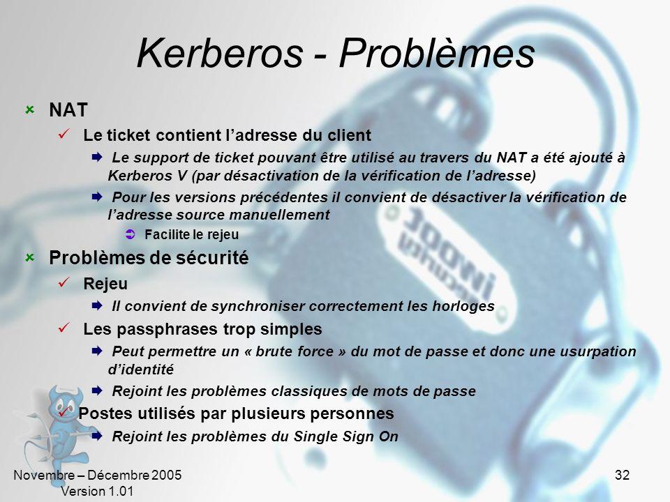 Kerberos - Problèmes NAT Problèmes de sécurité