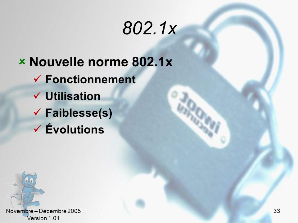 802.1x Nouvelle norme 802.1x Fonctionnement Utilisation Faiblesse(s)