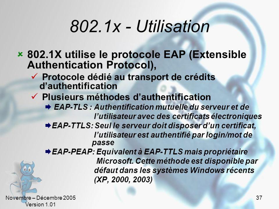 802.1x - Utilisation 802.1X utilise le protocole EAP (Extensible Authentication Protocol),