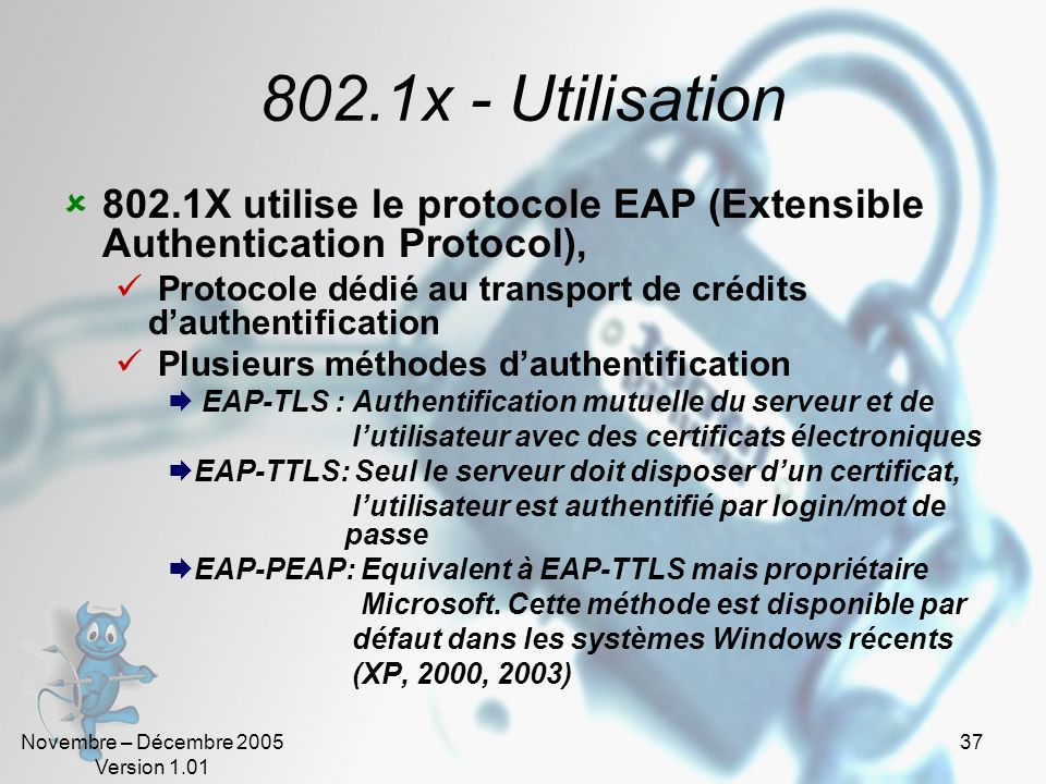 802.1x - Utilisation802.1X utilise le protocole EAP (Extensible Authentication Protocol), Protocole dédié au transport de crédits d'authentification.