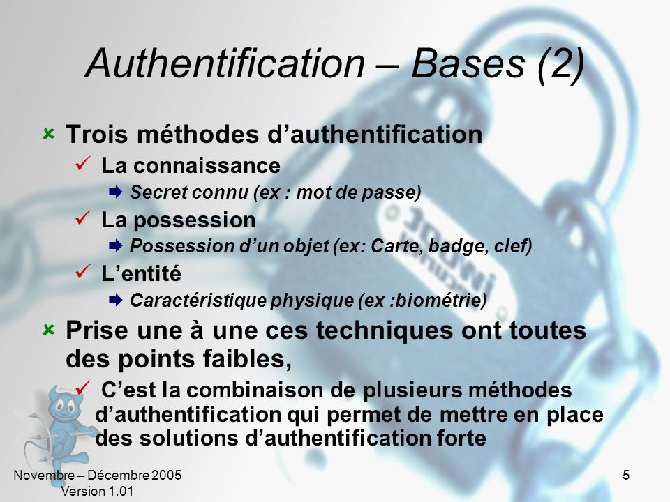 Authentification – Bases (2)