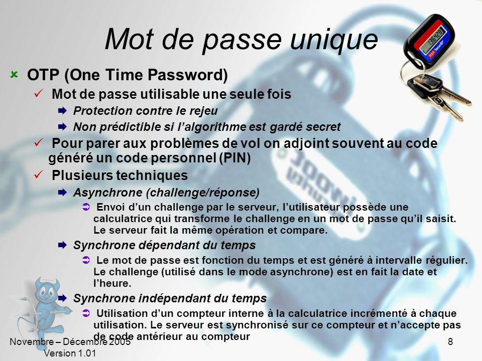 Mot de passe unique OTP (One Time Password)