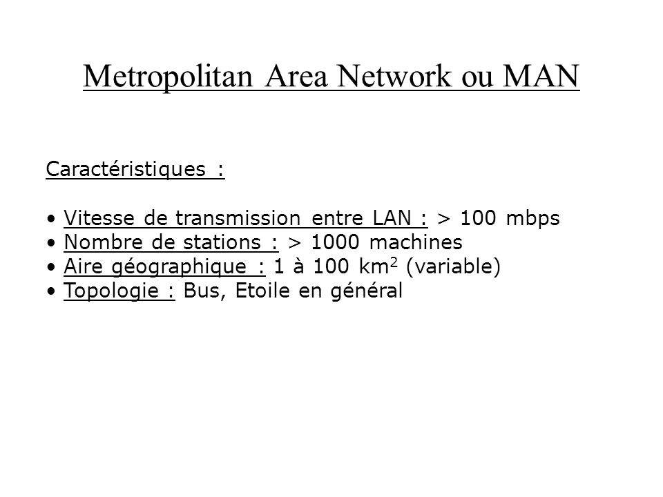 Metropolitan Area Network ou MAN