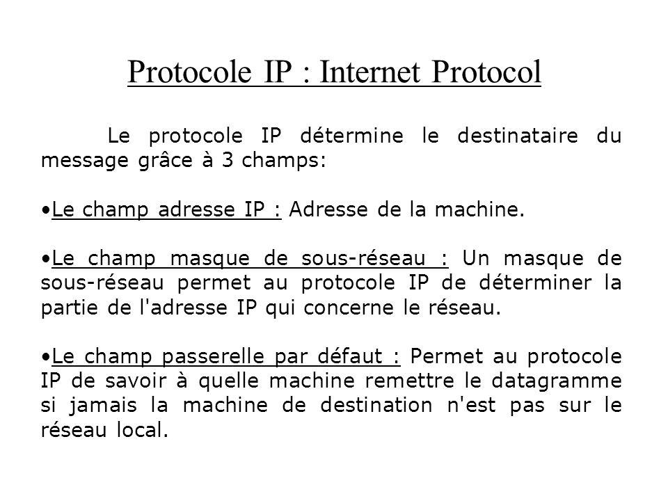 Protocole IP : Internet Protocol