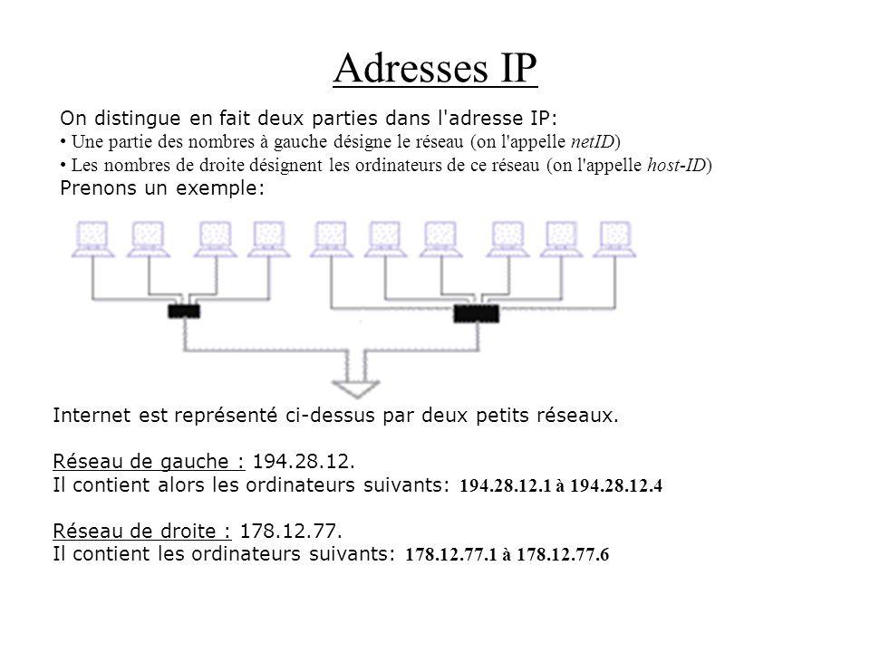 Adresses IP On distingue en fait deux parties dans l adresse IP: