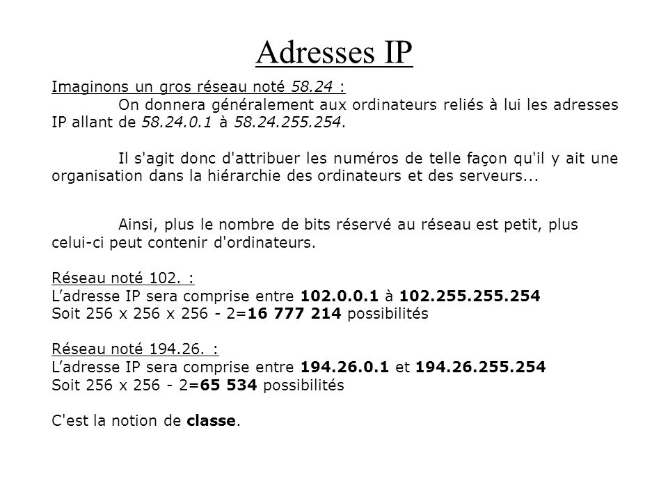 Adresses IP Imaginons un gros réseau noté 58.24 :