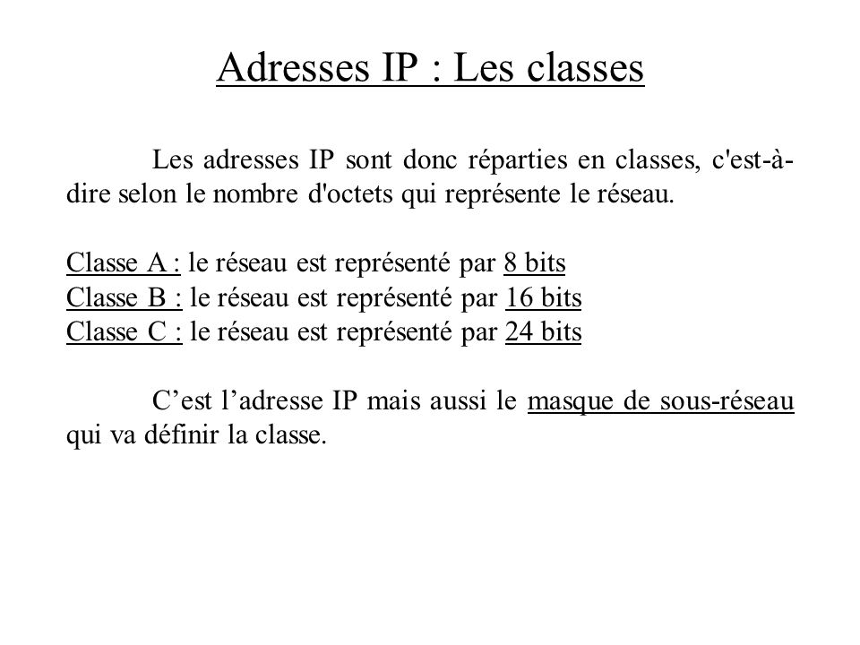 Adresses IP : Les classes