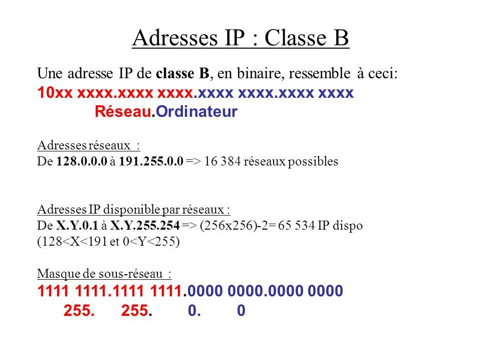 Adresses IP : Classe B Une adresse IP de classe B, en binaire, ressemble à ceci: 10xx xxxx.xxxx xxxx.xxxx xxxx.xxxx xxxx.