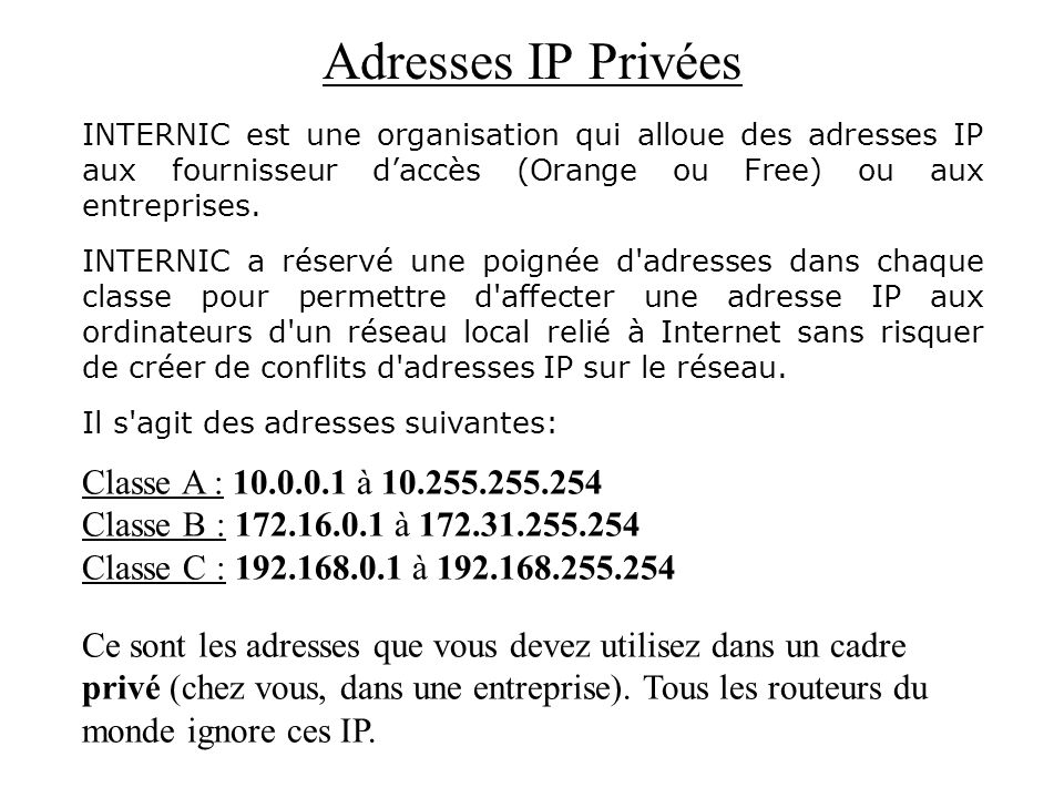 Adresses IP Privées Classe A : 10.0.0.1 à 10.255.255.254