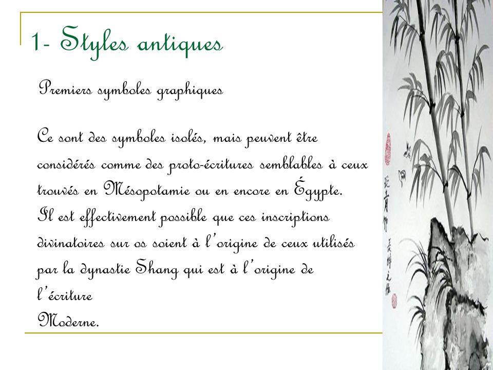 1- Styles antiques Premiers symboles graphiques