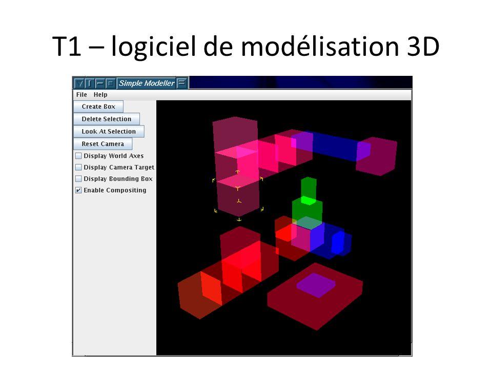T1 – logiciel de modélisation 3D