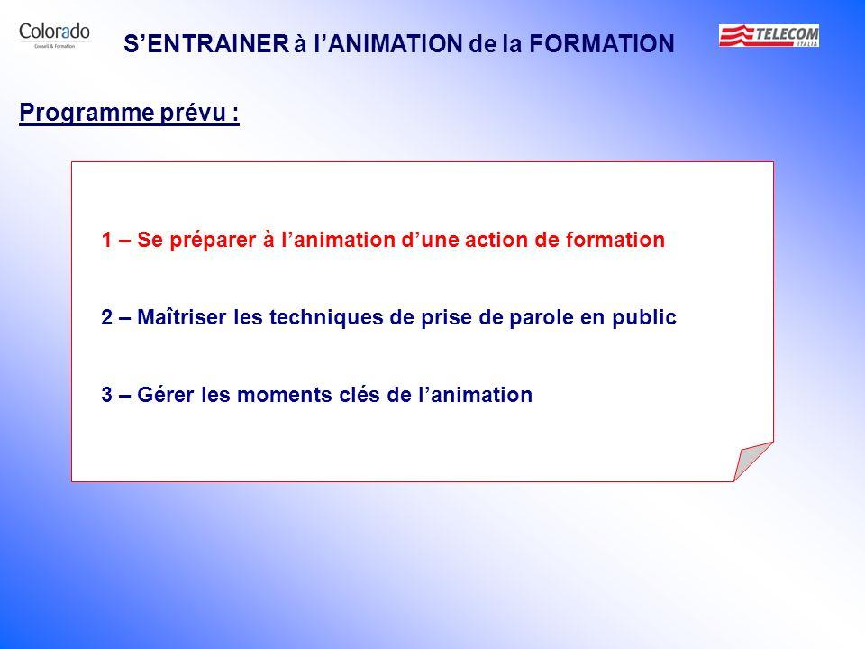 S'ENTRAINER à l'ANIMATION de la FORMATION