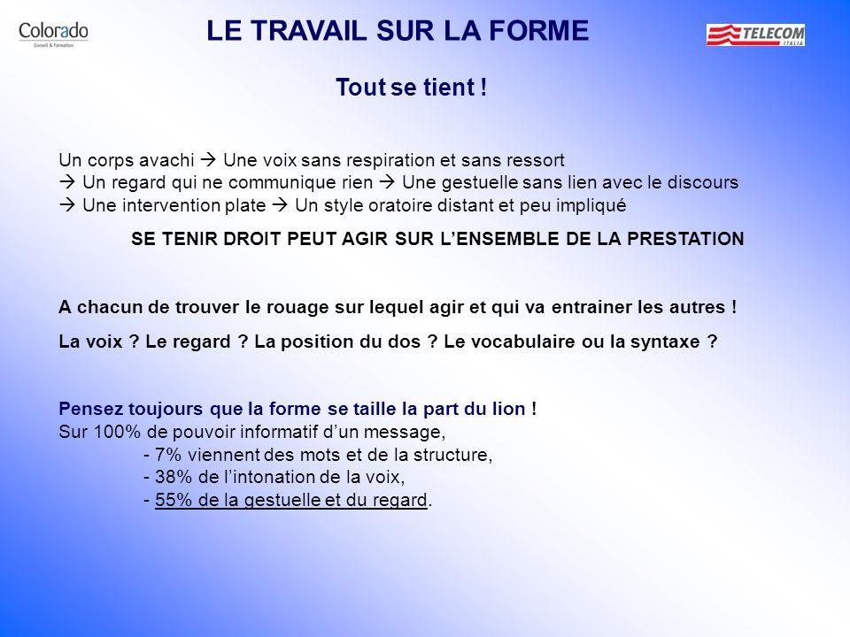 SE TENIR DROIT PEUT AGIR SUR L'ENSEMBLE DE LA PRESTATION