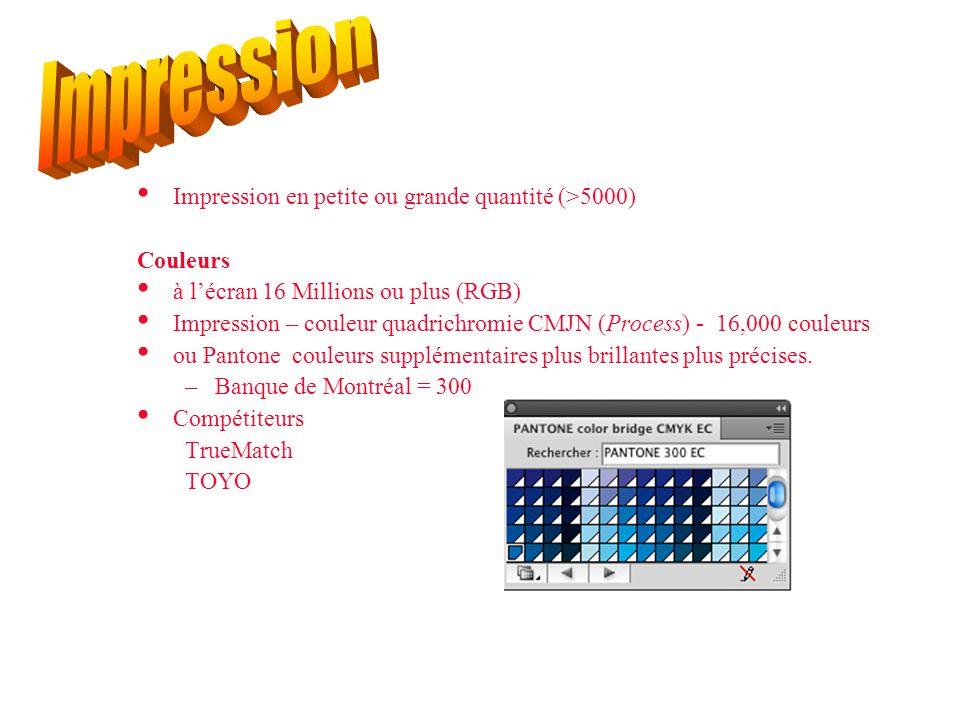 Impression Impression en petite ou grande quantité (>5000) Couleurs