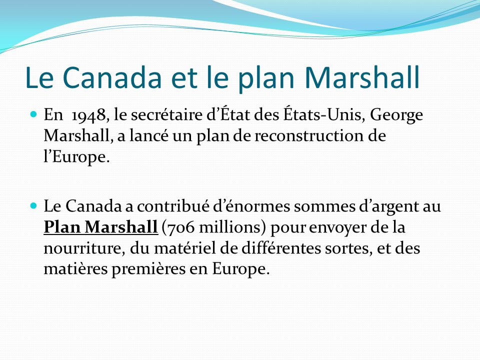 Le Canada et le plan Marshall