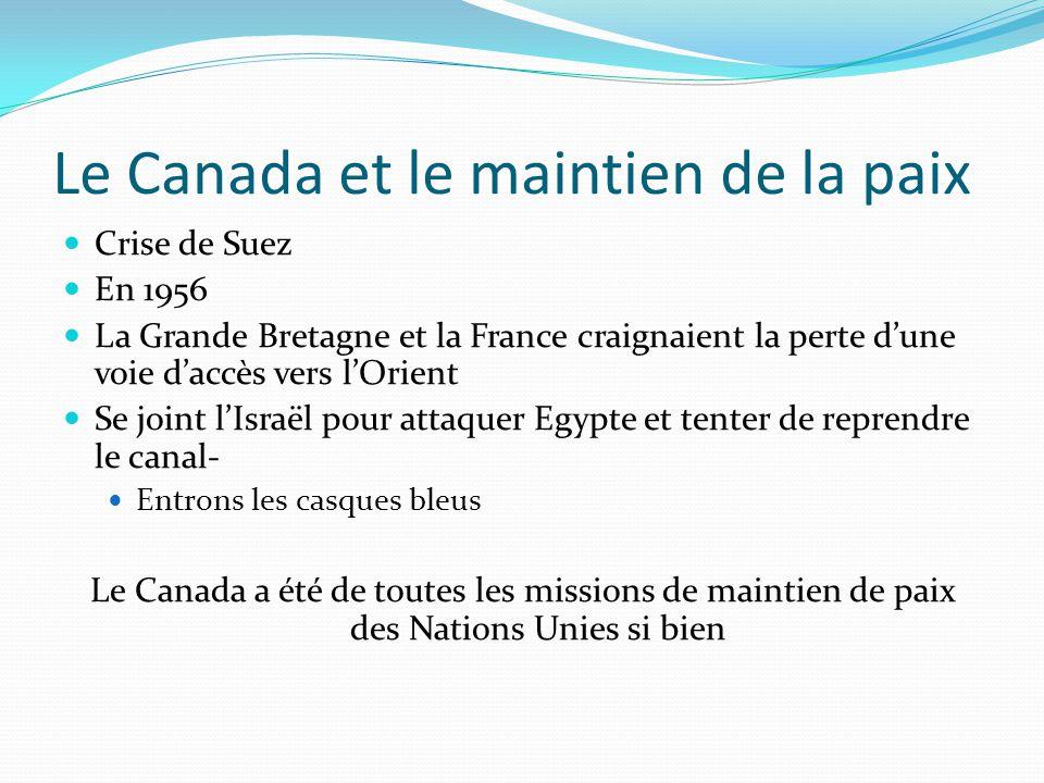 Le Canada et le maintien de la paix