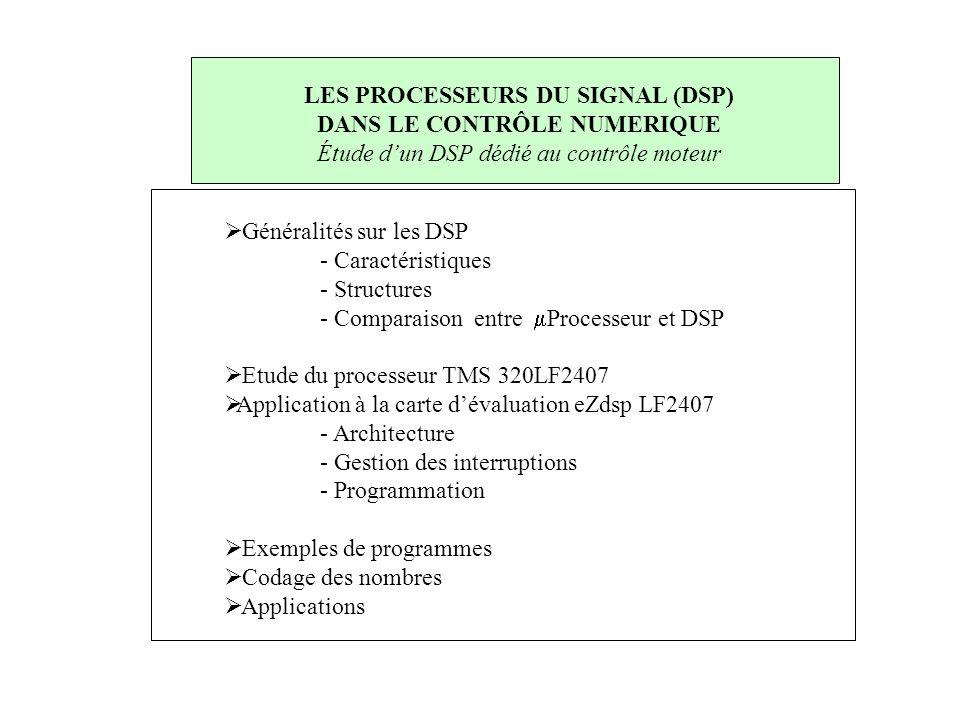 LES PROCESSEURS DU SIGNAL (DSP) DANS LE CONTRÔLE NUMERIQUE