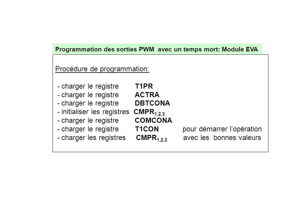 Procédure de programmation: - charger le registre T1PR
