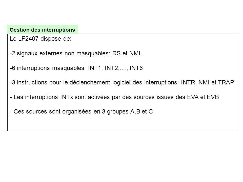 2 signaux externes non masquables: RS et NMI