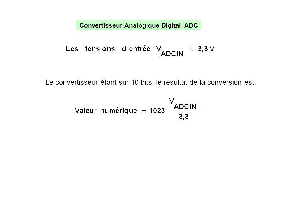 Le convertisseur étant sur 10 bits, le résultat de la conversion est: