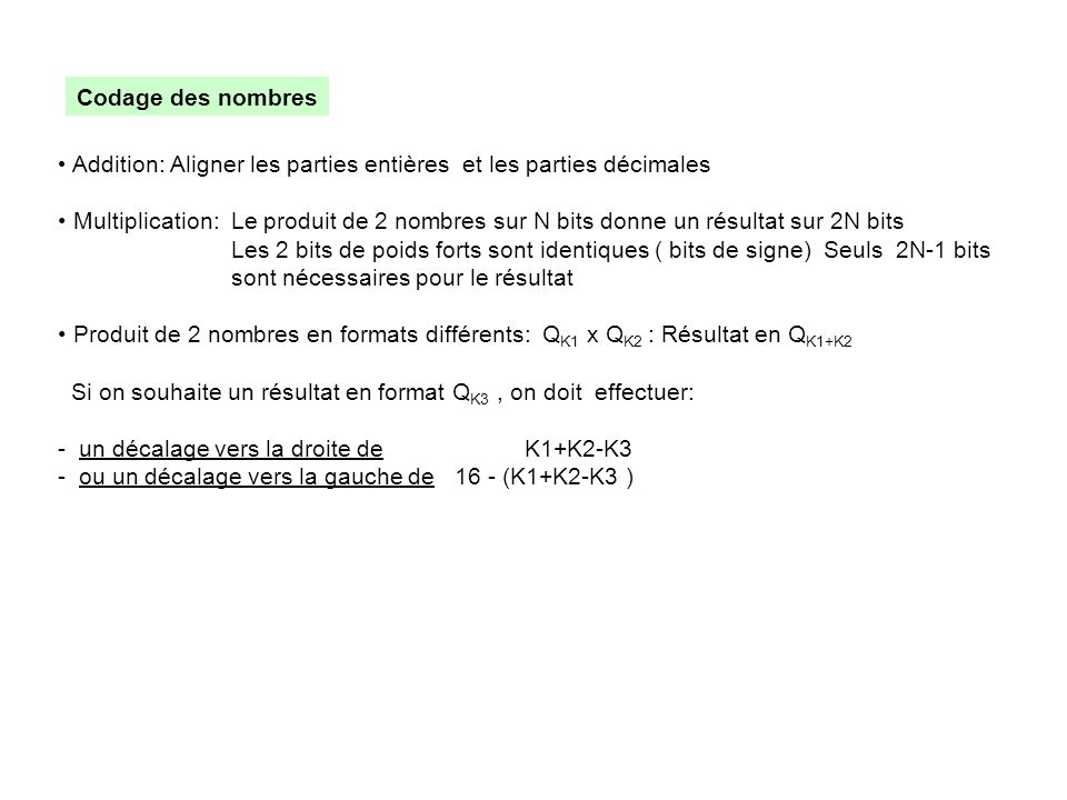 Codage des nombres Addition: Aligner les parties entières et les parties décimales.