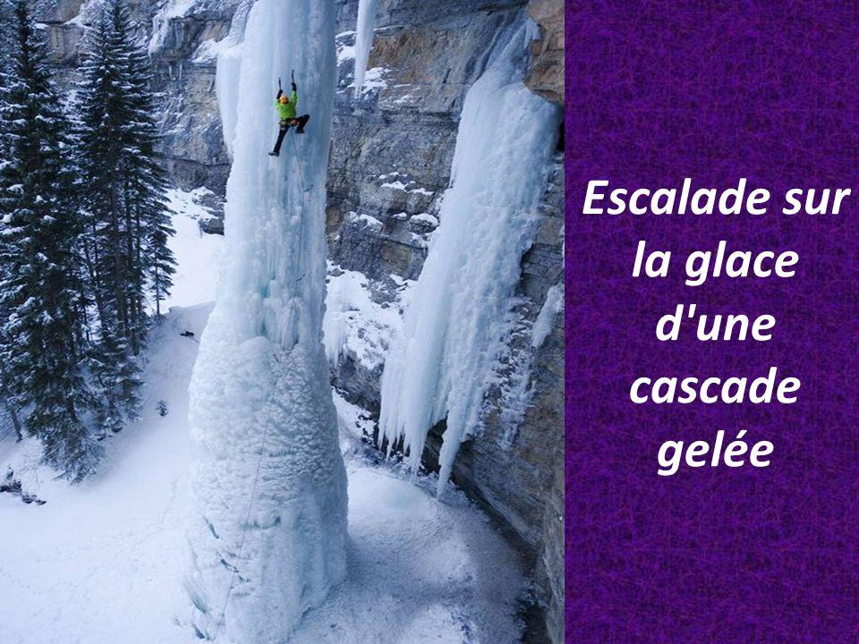 Escalade sur la glace d une cascade gelée