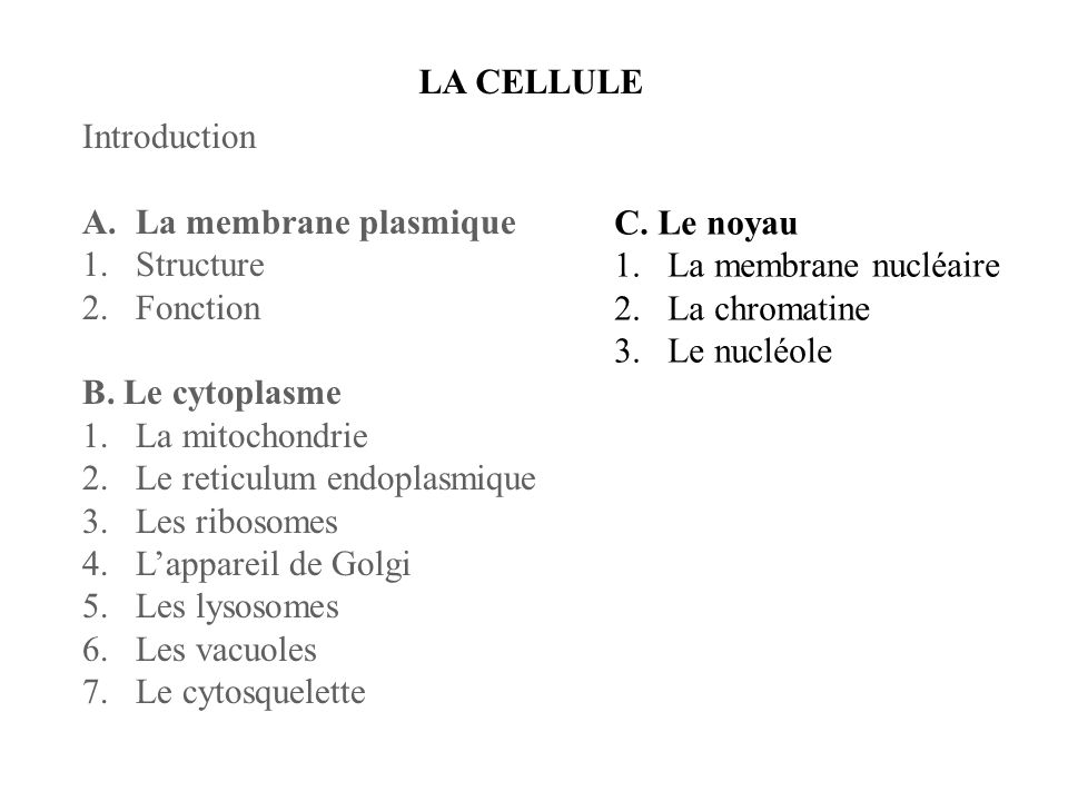 LA CELLULEIntroduction. La membrane plasmique. Structure. Fonction. B. Le cytoplasme. La mitochondrie.