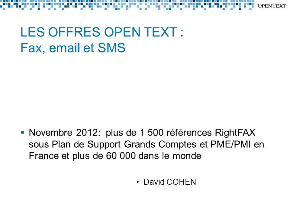 LES OFFRES OPEN TEXT : Fax, email et SMS