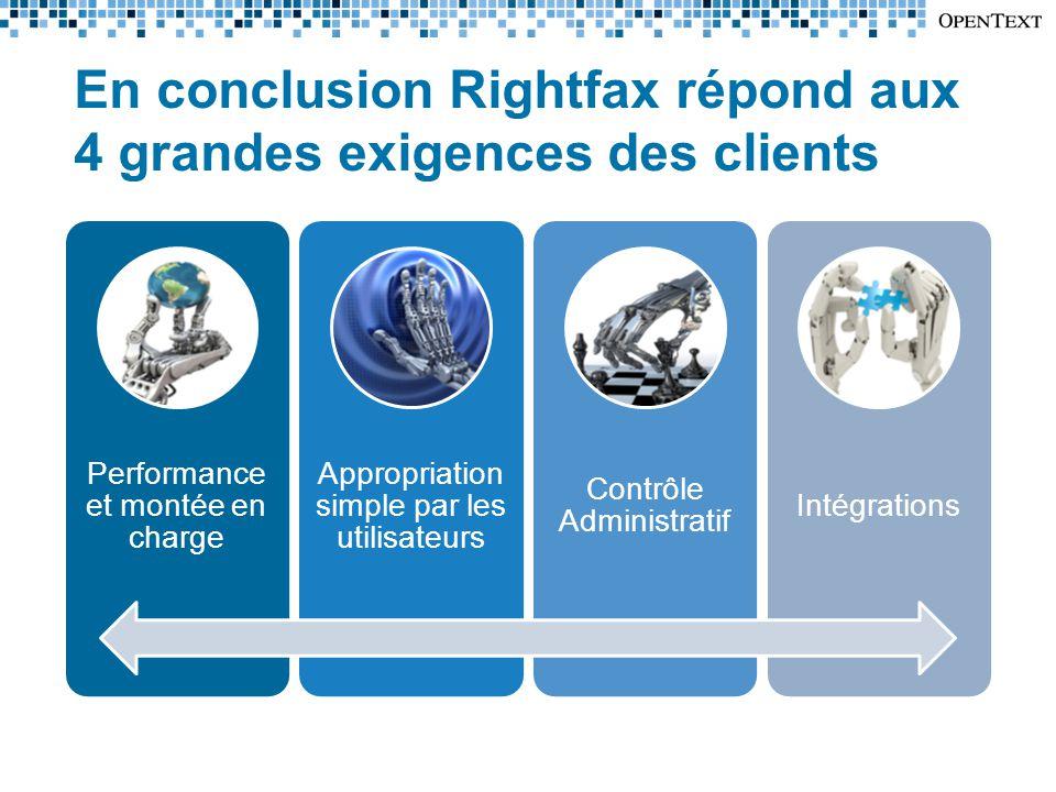 En conclusion Rightfax répond aux 4 grandes exigences des clients