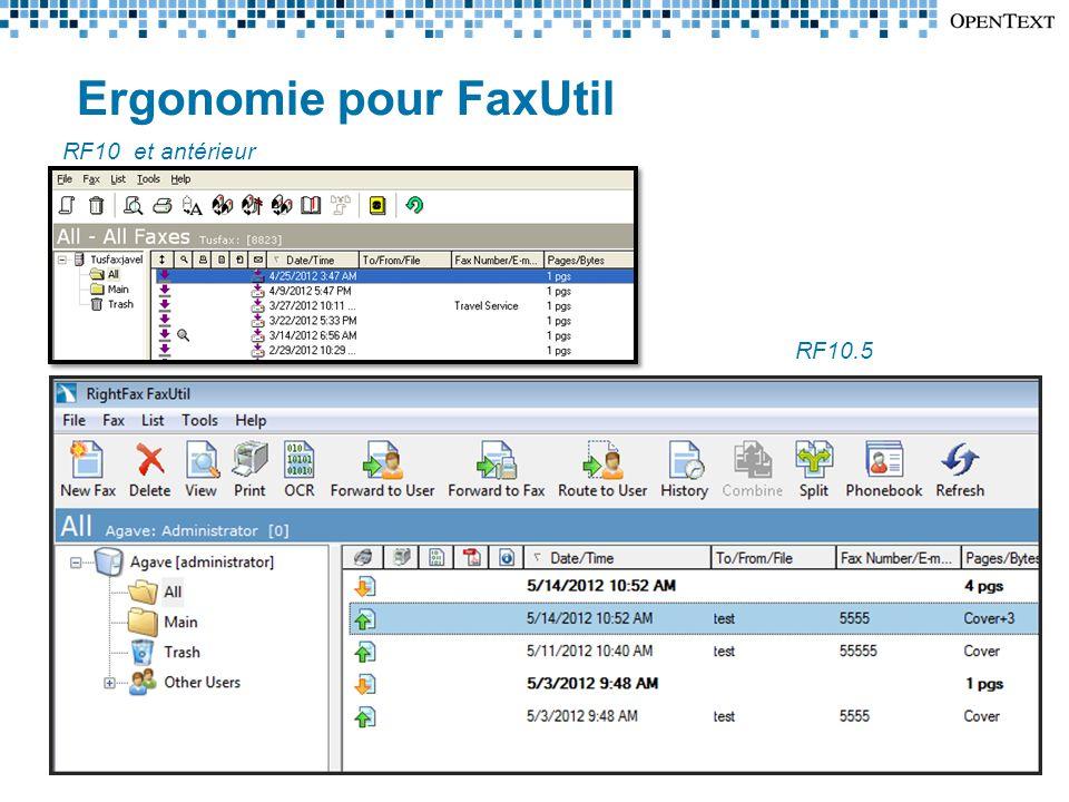 Ergonomie pour FaxUtil