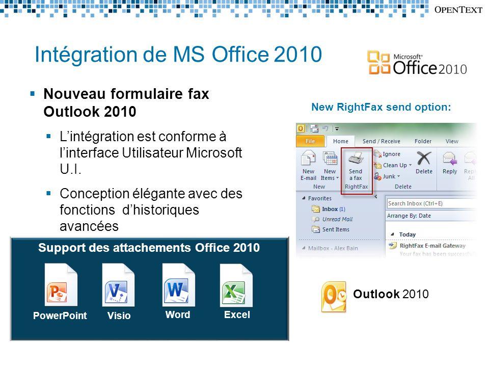 Intégration de MS Office 2010