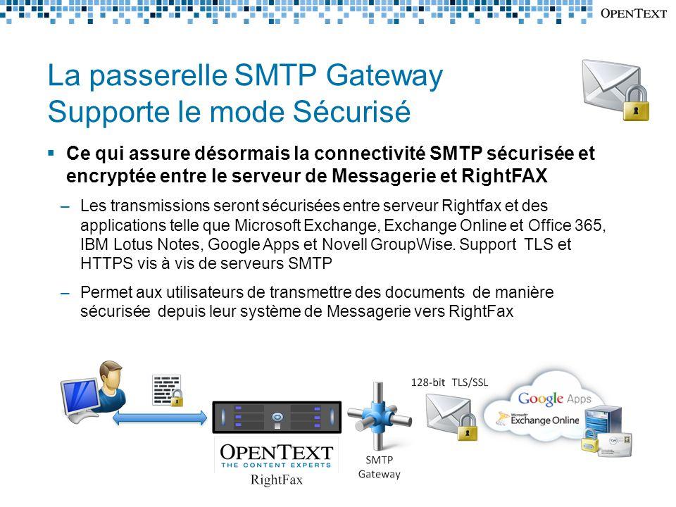 La passerelle SMTP Gateway Supporte le mode Sécurisé
