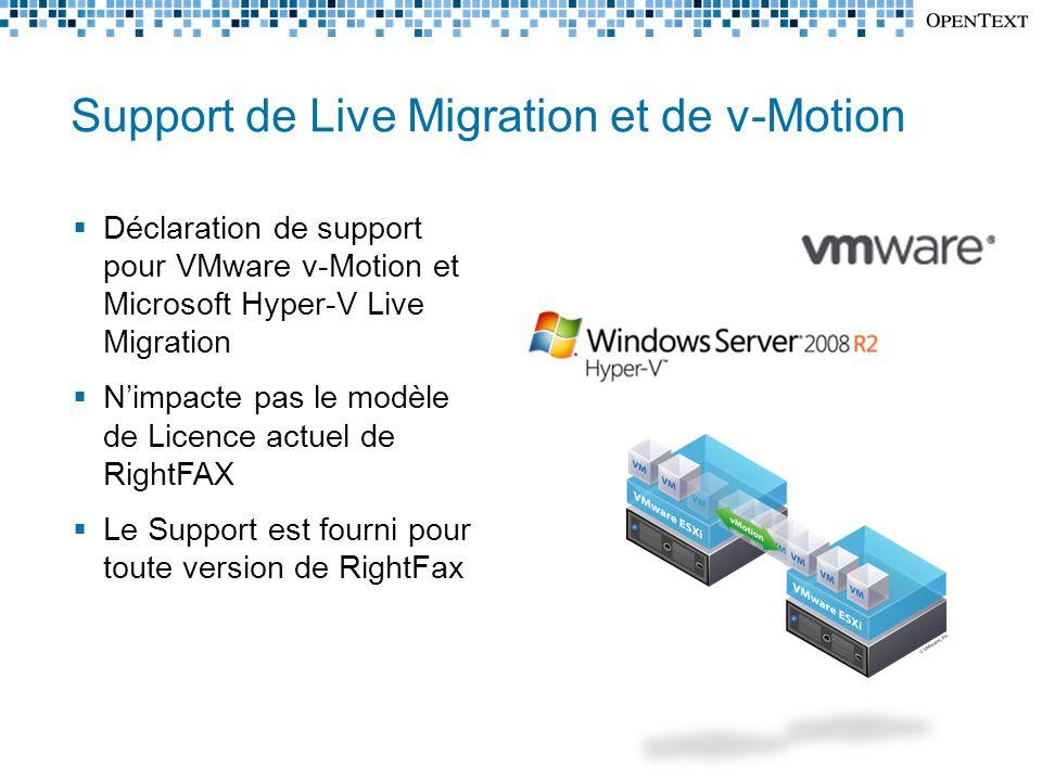 Support de Live Migration et de v-Motion