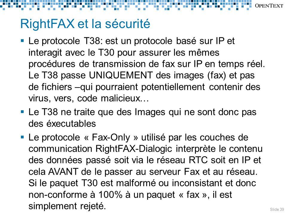 RightFAX et la sécurité