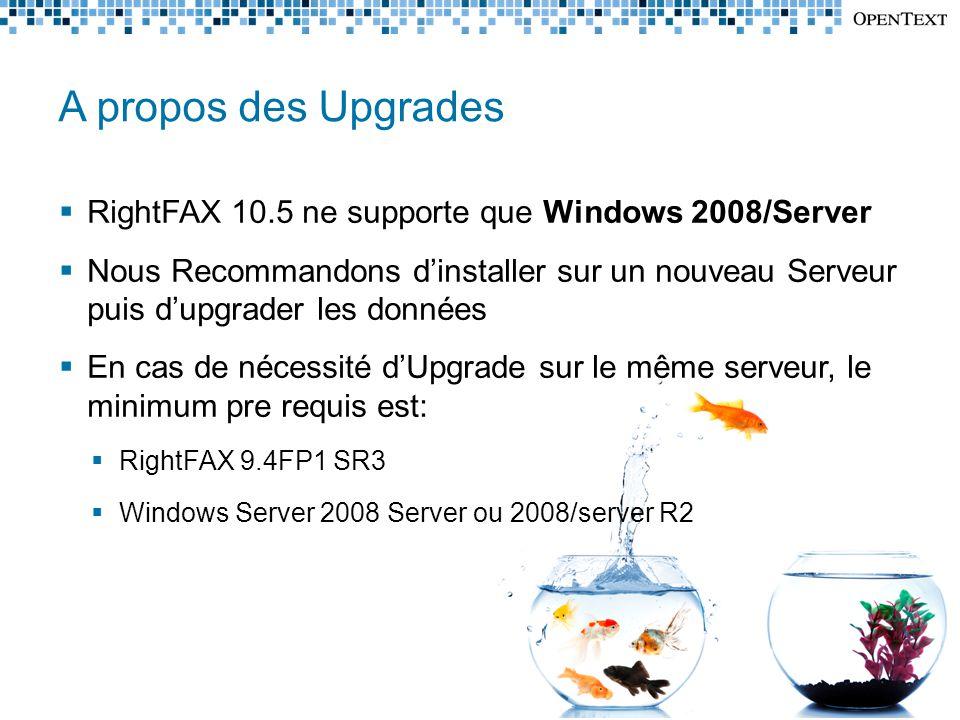 A propos des Upgrades RightFAX 10.5 ne supporte que Windows 2008/Server.