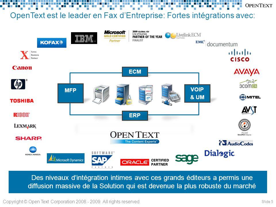OpenText est le leader en Fax d'Entreprise: Fortes intégrations avec: