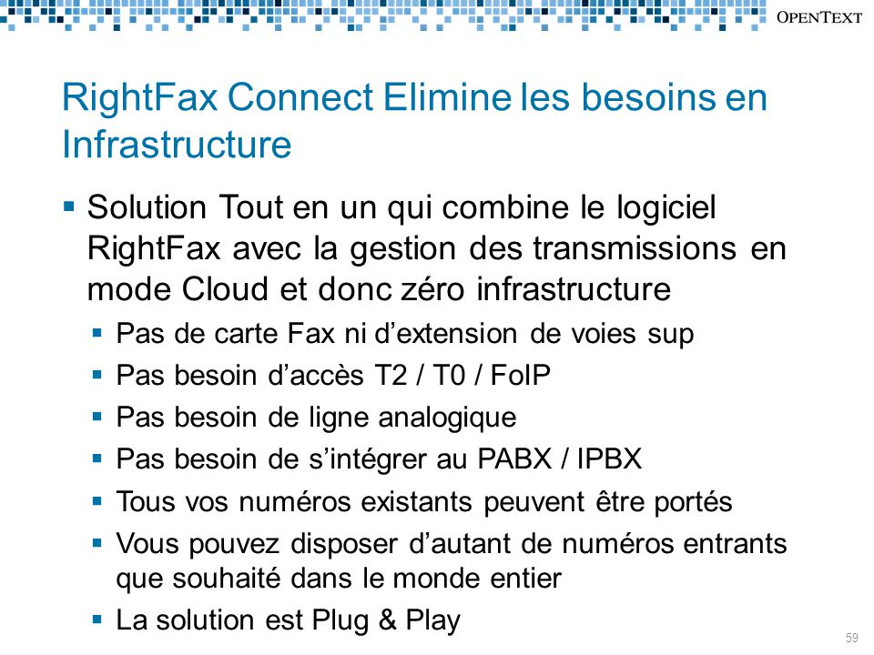 RightFax Connect Elimine les besoins en Infrastructure